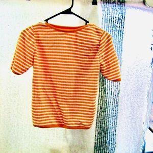Vintage orange and white striped top